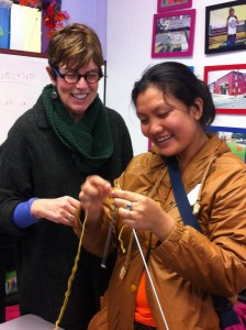 A cross-generational knitting lesson